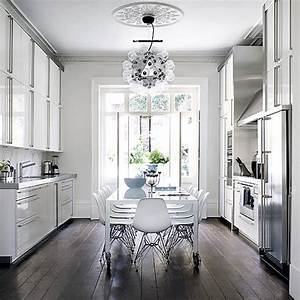 Kitchen diner ideas for easy living ideal home for Kitchen colors with white cabinets with wagon wheel wall art