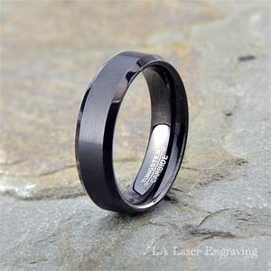 black brushed tungsten carbide wedding band mens brushed With brushed beveled edge wedding ring