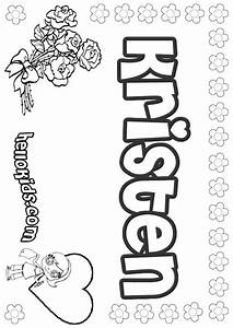girls name coloring pages, Kristen girly name to color