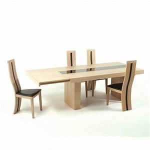table de salle a manger extensible en chene massif With salle À manger contemporaineavec table de salle a manger extensible