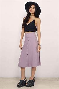 Cute As A Button Mauve Flared Button Down Midi Skirt - $38 ...