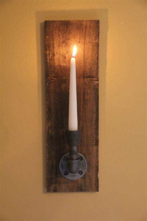 wooden candle sconces for the wall set of 2 reclaimed rustic wood candle wall sconce