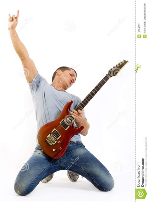 Passionate Guitarist Playing His Electric Guitar Stock Image  Image 11094577