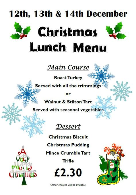 tcc christmas lunch menu torpoint community college