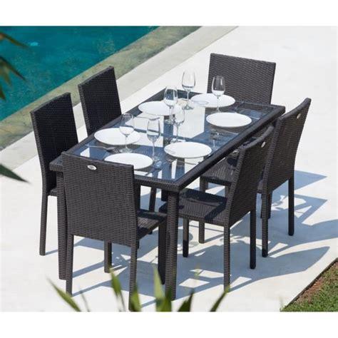 ensemble table et chaises de jardin en solde arcachon ensemble table de jardin 6 chaises acier et résine tressée gris anthracite achat