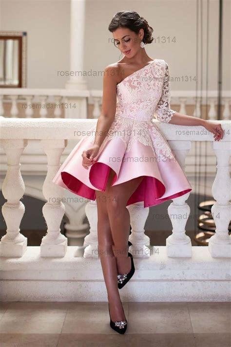 short  shoulder lace satin cocktail party prom dress