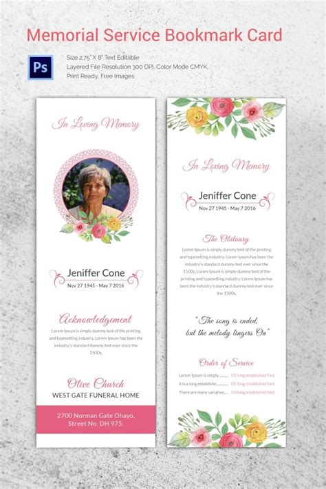 funeral program templates  word  psd