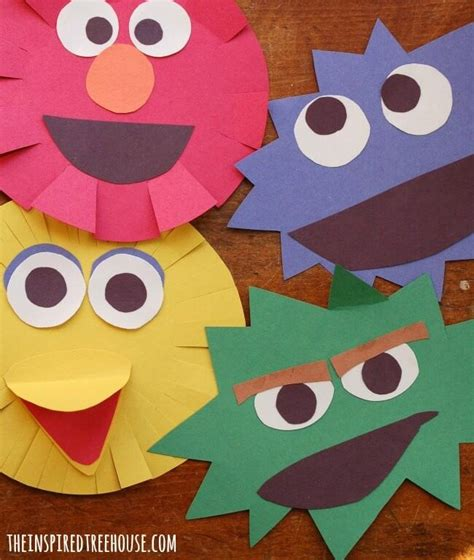 sesame characters cutting craft family crafts 782   cutting craft for kids title 1 650x768