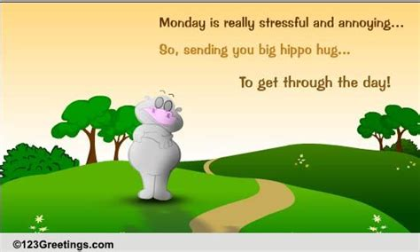 Big Hippo Hug Free Monday Blues Ecards Greeting  Ee  Cards Ee