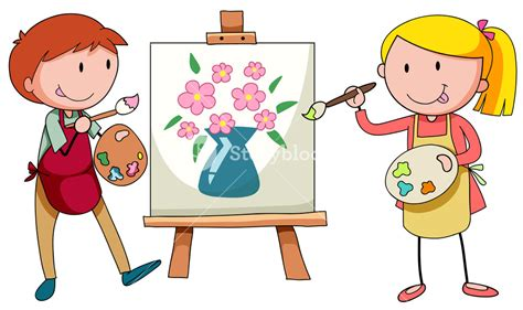 artists clipart two artists painting on canvas illustration royalty free