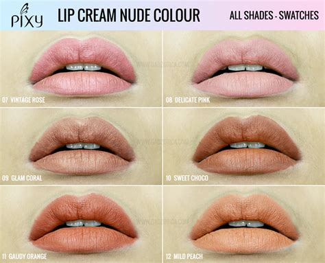 review pixy lip cream nude colour swatches  warna