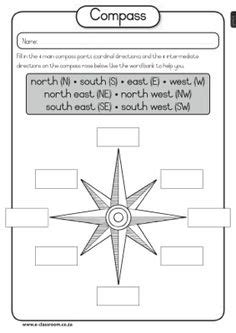 cut out the direction words and glue them onto the compass social studies super teacher