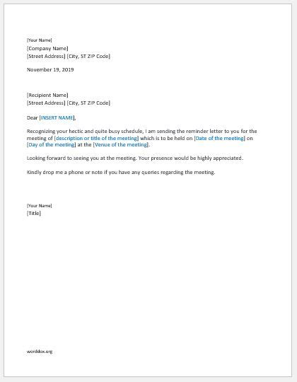 meeting reminder letteremail template word document