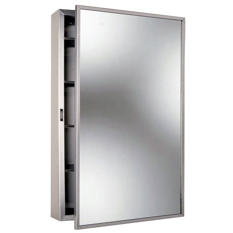Mirror Medicine Cabinet Surface Mount by Bobrick B 299 Stainless Steel Surface Mounted Mirrored