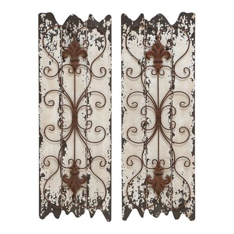 metal and wood wall decor wood and metal wall decor panel set of 2 15896211 overstock shopping great deals on