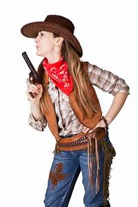 Cowgirl with a gun stock image. Image of handgun, face ...
