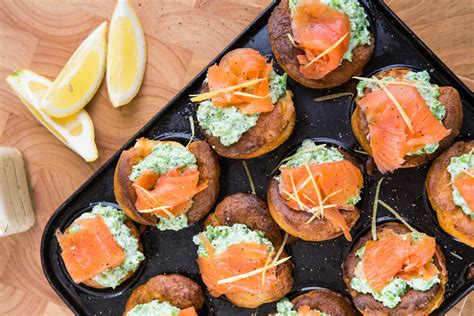 fillings for canapes smoked salmon pea mini yorkshires smoked salmon