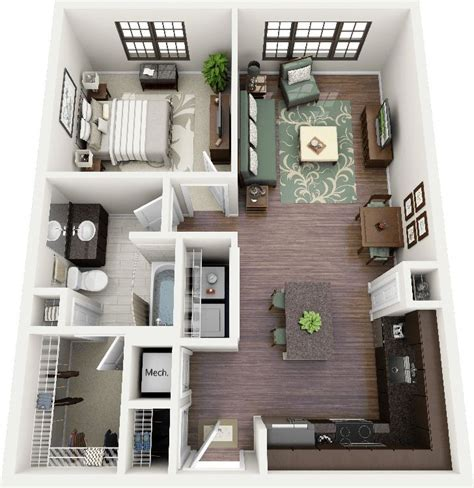 One Bedroom Apartment Layout Ideas by 50 One 1 Bedroom Apartment House Plans Architecture