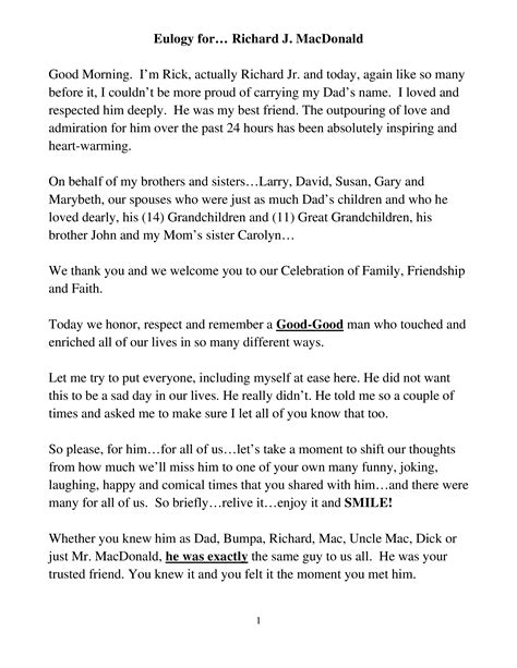 Eulogy Template by Beaufiful Eulogy Template Pictures Free Eulogy