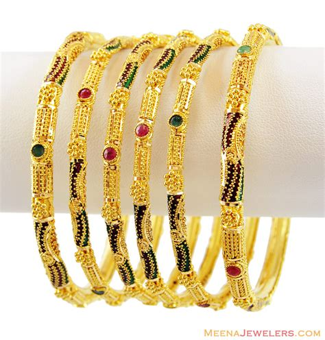 6 pc 22k fancy meenakari bangles bast13724 22k gold meenakari bangles set of 6 designed