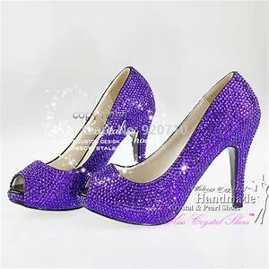 handmade 4 inches Low Heel Violet Cystal Wedding Shoes ...