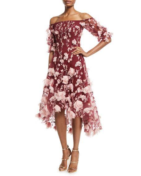 12760 Low Shoulder Flower Dress marchesa notte the shoulder 3d floral high low