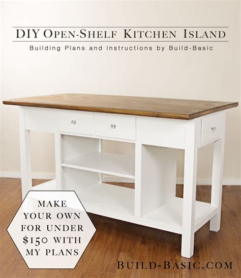 build  diy open shelf kitchen island build basic