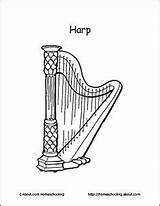 Harp Coloring Musical Pages Digital Terms Basic Celtic Stamp Printouts Learn Teaching Charts Lessons Thoughtco Techniques sketch template