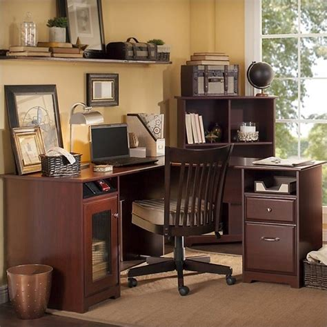 Bush Cabot L Shaped Desk With Hutch by Bush Cabot 60 Quot L Shaped Computer Desk In Harvest Cherry
