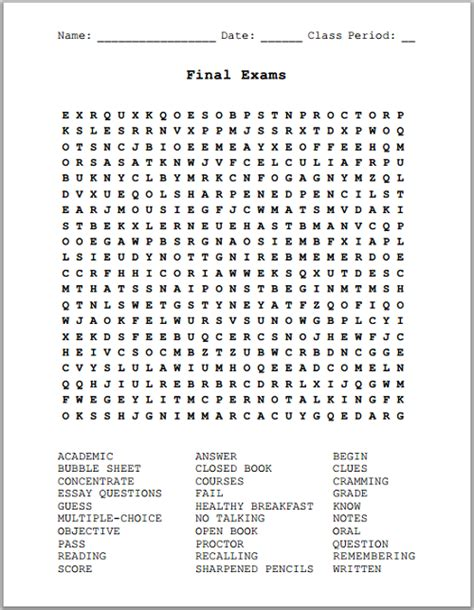 exams free printable word search puzzle k 12