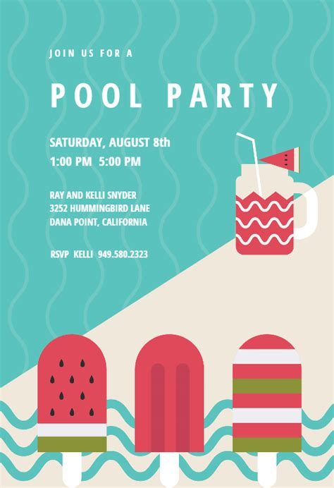 chill  pool party invitation template