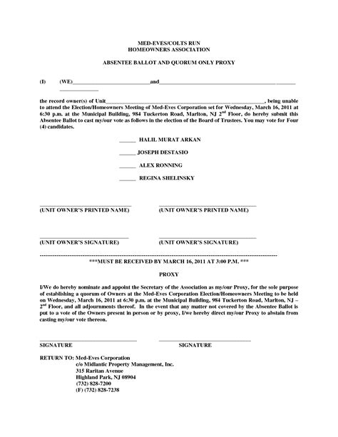 hoa proxy form template  printable documents