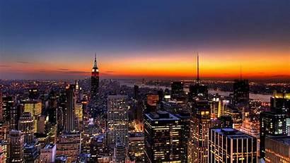 York Nueva Anochecer Night Nyc Resoluciones Skyline