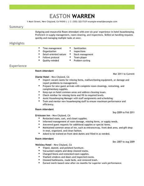 Hotel Resume by Best Room Attendant Resume Exle Livecareer