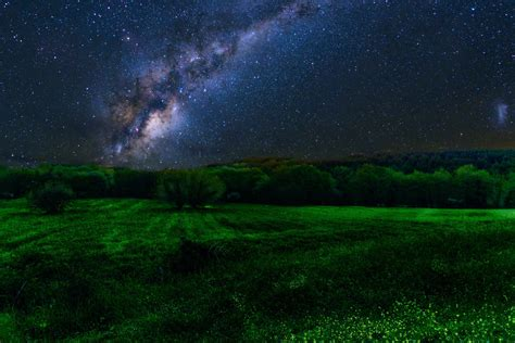 Milky Way Over Green Field Wallpaper Background Image