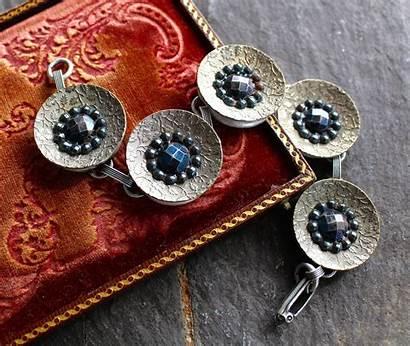 Jewelry Antique Steel Silver Button Bracelet Metal