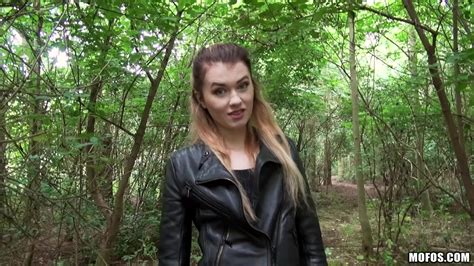 Babe In Leather Jacket Misha Cross Shows Her Wide Ass In