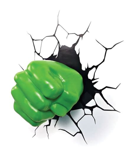3d deco superhero wall light hulk fist by thinkgeek