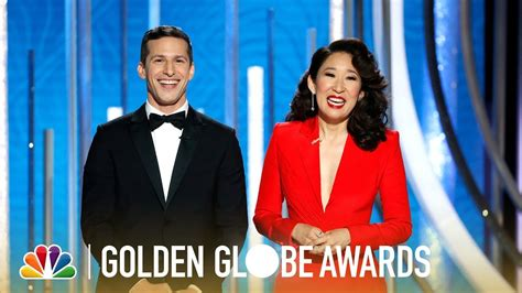 sandra oh monologue sandra oh and andy samberg monologue 2019 golden globes