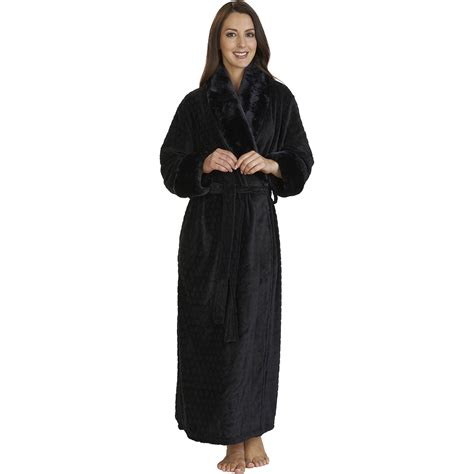 peignoir de chambre femme womens luxury fleece dressing gown slenderella shawl