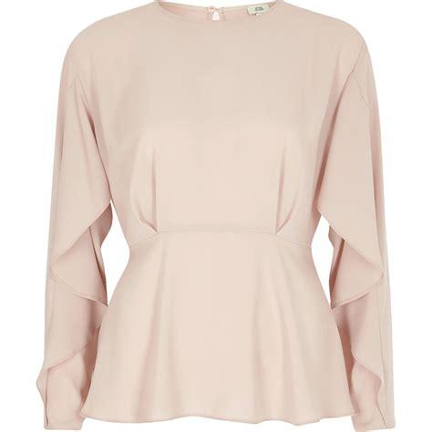 light pink blouse light pink frill sleeve blouse workwear