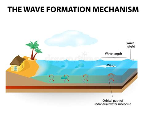 Wave Formation Mechanism Stock Vector Illustration