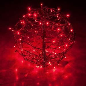 Red Led Christmas Light Ball  Fold Flat Brown Frame