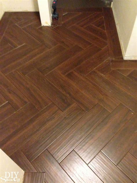 diy show  ceramic floor tile herringbone wood