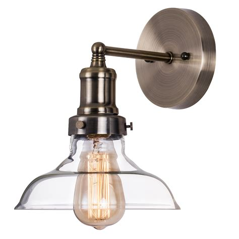 industrial clear glass wall sconce lighting antique brass
