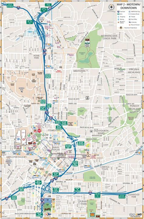 maps  downtown atlanta interactive  printable maps