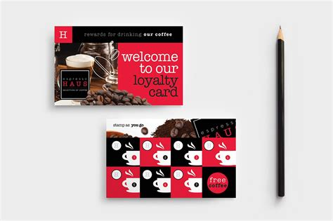 cafe loyalty card template business card templates
