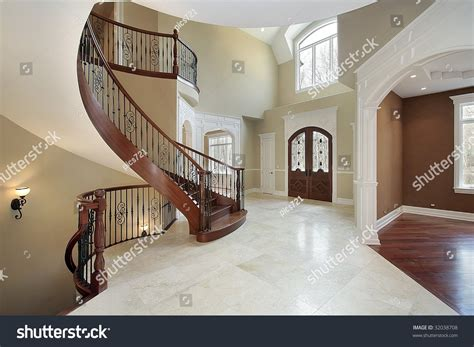 foyer  curved staircase stock photo