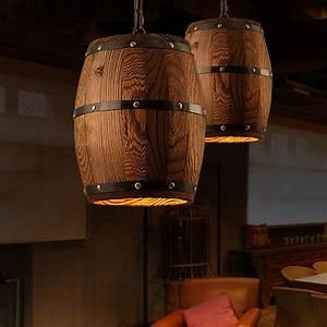 Luminaire Suspension Bois : suspension luminaire tonneau en bois d coindustriel ~ Teatrodelosmanantiales.com Idées de Décoration