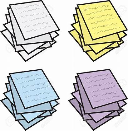 Paper Clipart Papers Messy Clip Stack Colores